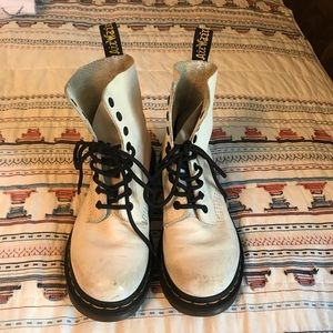 Dr. Martens Pascual White Leather Boots